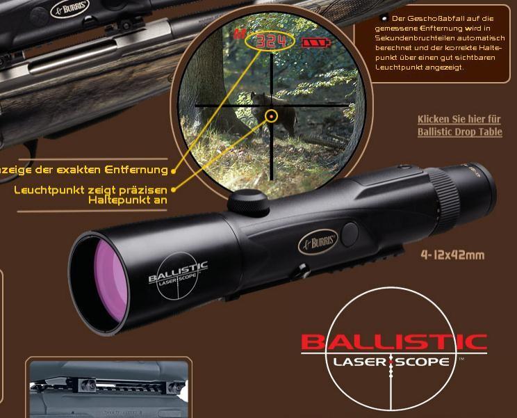 Zielfernrohr Mit Entfernungsmesser : Burris ballistic laserscope zielfernrohr 4 12x42 entfernungsmesser